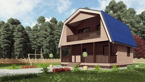 Двухэтажный дом с балконом и террасой 17АЗ05-ДД-8х8-112