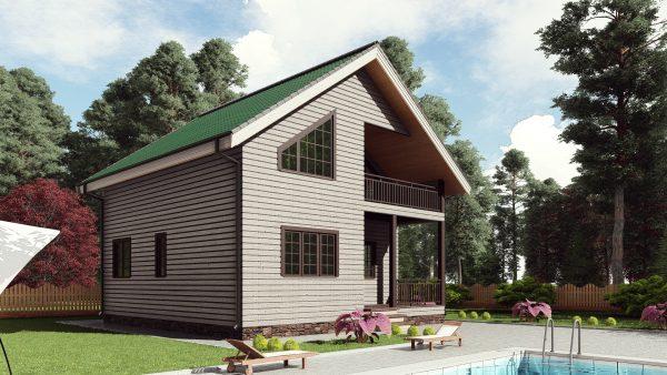 Двухэтажный дом с балконом и террасой 17ИА03-ДД-8х8-128