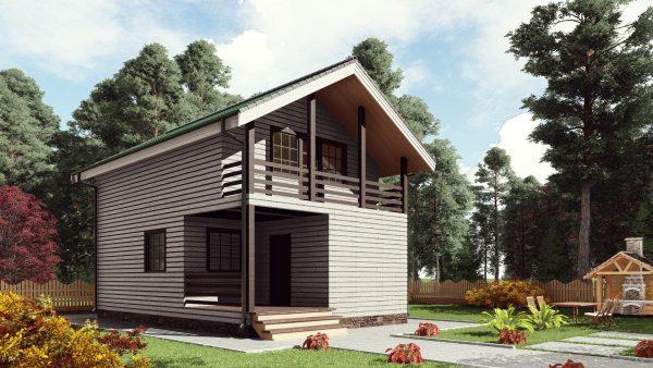 Двухэтажный дом с балконом 16ЖЗ03-ДМ-6х9-108