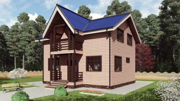 Двухэтажный дом с балконом 16СБ07-ДМ-7х9-135