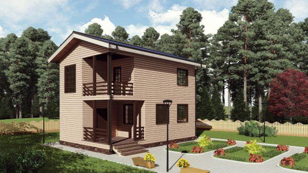 Двухэтажный дом с балконом 16СБ11-ДД-6х9-108