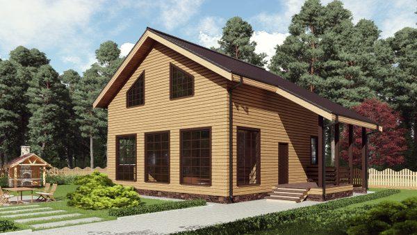 Двухэтажный дом с панорамными окнами 16СБ05-ДМ-9х9-176