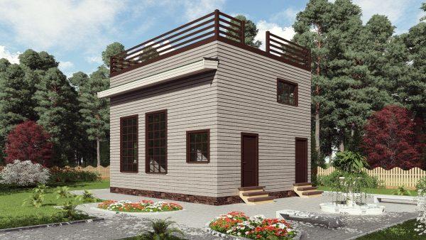 Двухэтажный дом с террасой на крыше17ЖЗ03-ДМ-6.5х8-156
