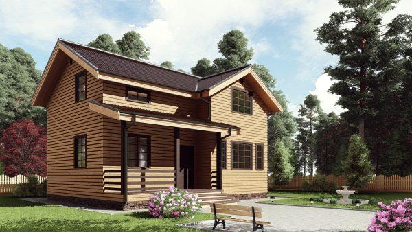 Двухэтажный дом с террасой 16ЖЗ02-ДМ-7х9.5-130