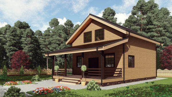Двухэтажный дом с террасой 16ЖЗ04-ДМ-7.5х9-158