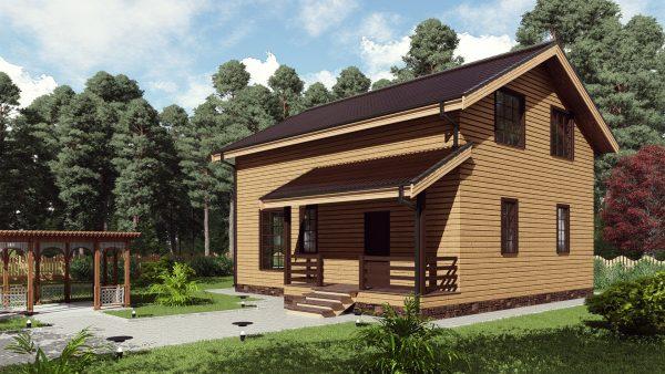Двухэтажный дом с террасой 17АА01-ДМ-8х10-168