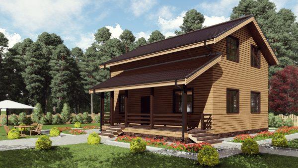 Двухэтажный дом с террасой 17АА02-ДМ-8.05х10.05-181