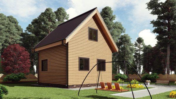 Двухэтажный дом с террасой 17АЗ08-ДМ-6х6-70