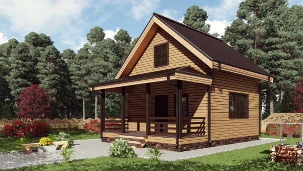 Двухэтажный дом с террасой 17ЖЗ04-ДМ-6х8-84