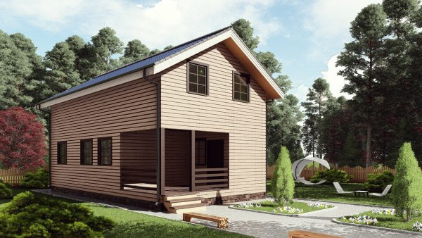 Двухэтажный дом с террасой 17ЖЗ07-ДМ-6х11-132