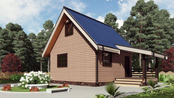Двухэтажный дом с террасой 17ЖЗ09-ДМ-6х6-80