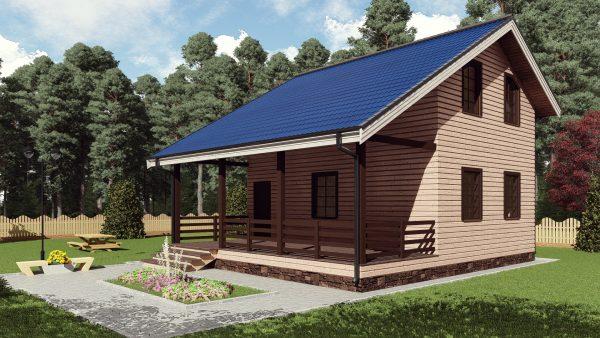 Двухэтажный дом с террасой 17ИА04-ДМ-8х9-120