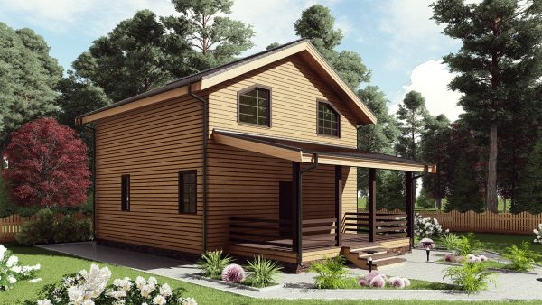 Двухэтажный дом с террасой 17СБ01-ДМ-8х8.3-152