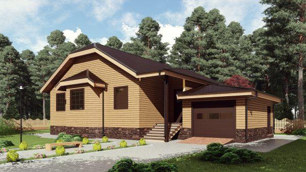 Одноэтажный дом с гаражом 16СБ08-ДО-10.4х10.8-158