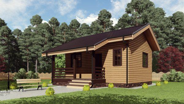 Одноэтажный дом с террасой 17ЖЗ06.00-ДО-6.7х6.5-41