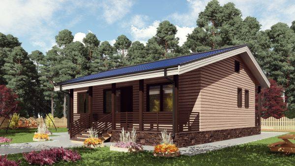 Одноэтажный дом с террасой 17КМ03-ДО-9х11-115