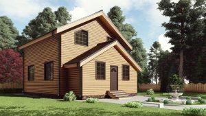 Двухэтажный дом с верандой 17АЗ06-ДМ-7.5х8-133