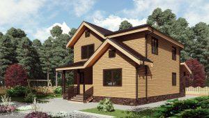 Двухэтажный дом с двумя террасами 17КМ01-ДД-9х10.5-190