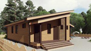 Одноэтажный дом с террасой 16СБ12-ДО-12.6х8.1-143