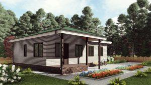 Одноэтажный дом с террасой 17КМ05-ДО-9х12-127